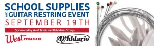 School Supplies and Guitar Restring Event – September 19th